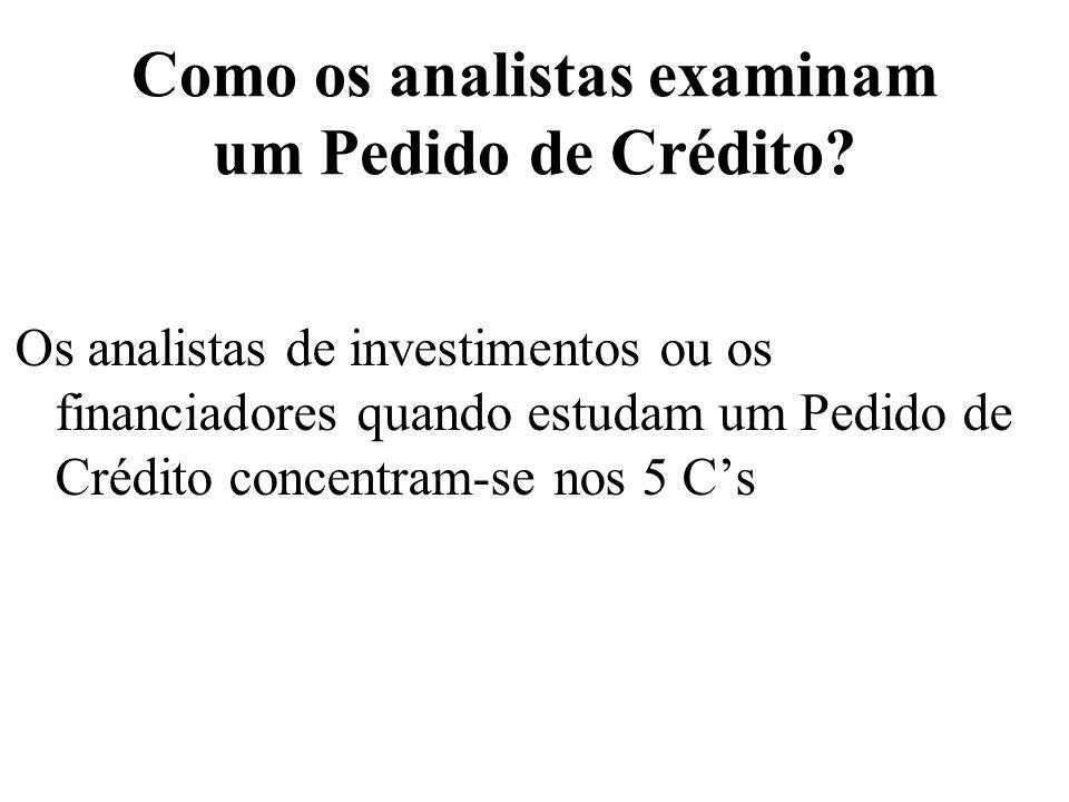 Como os analistas examinam um Pedido de Crédito