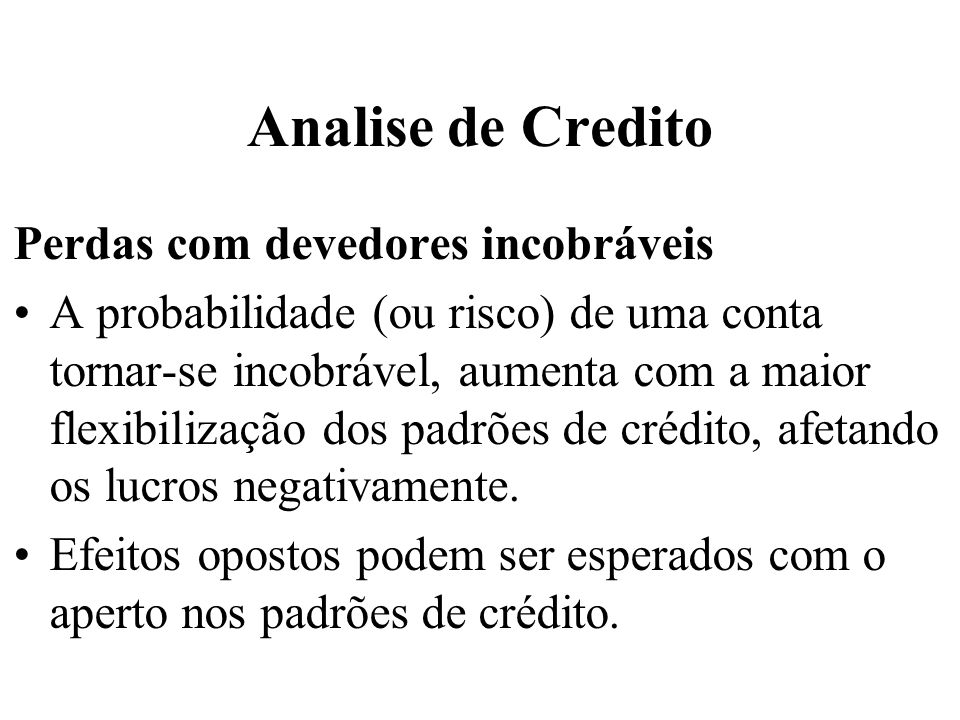 Analise de Credito Perdas com devedores incobráveis