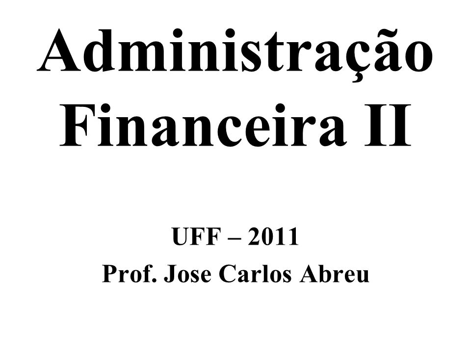 Administração Financeira II