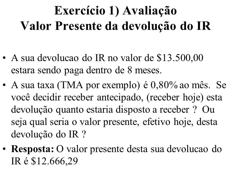 Exercício 1) Avaliação Valor Presente da devolução do IR