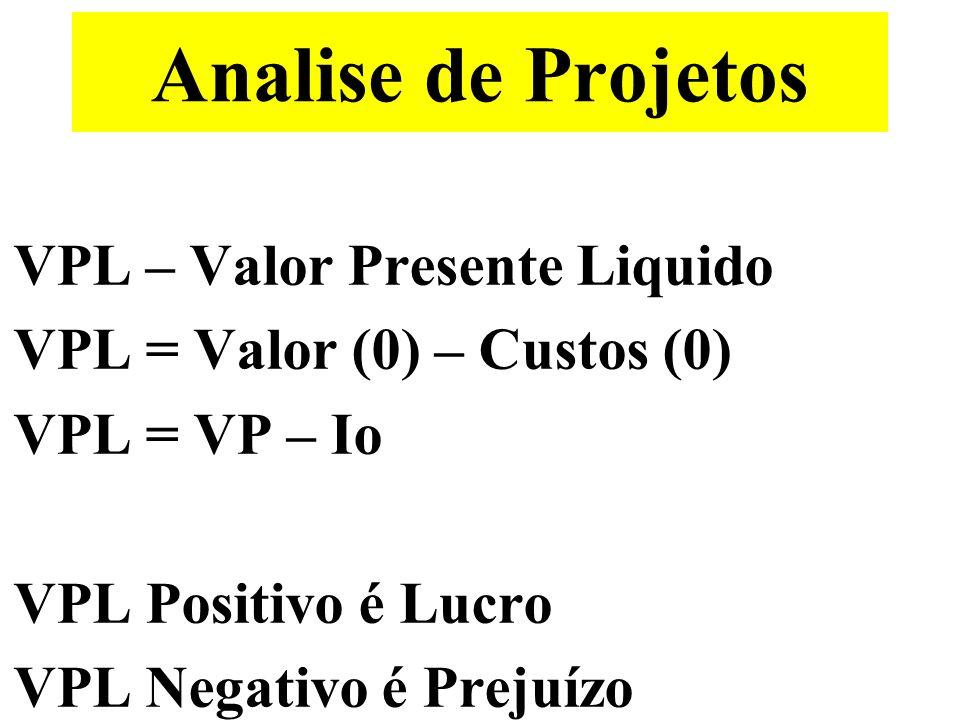 Analise de Projetos VPL – Valor Presente Liquido