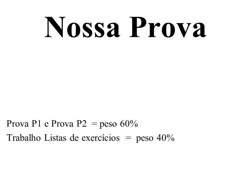Nossa Prova Prova P1 e Prova P2 = peso 60%