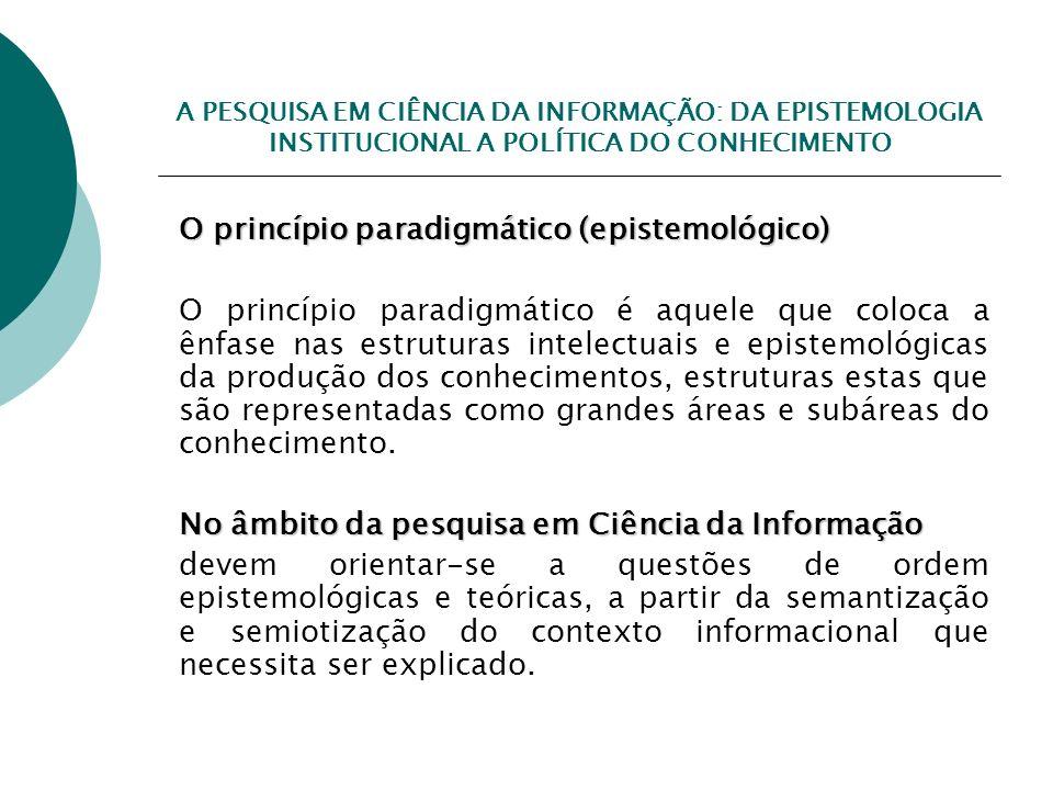 O princípio paradigmático (epistemológico)
