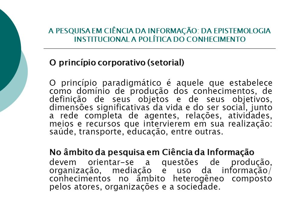 O princípio corporativo (setorial)