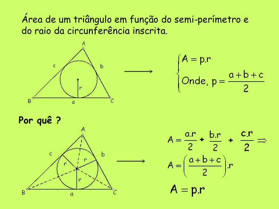 Área de um triângulo em função do semi-perímetro e