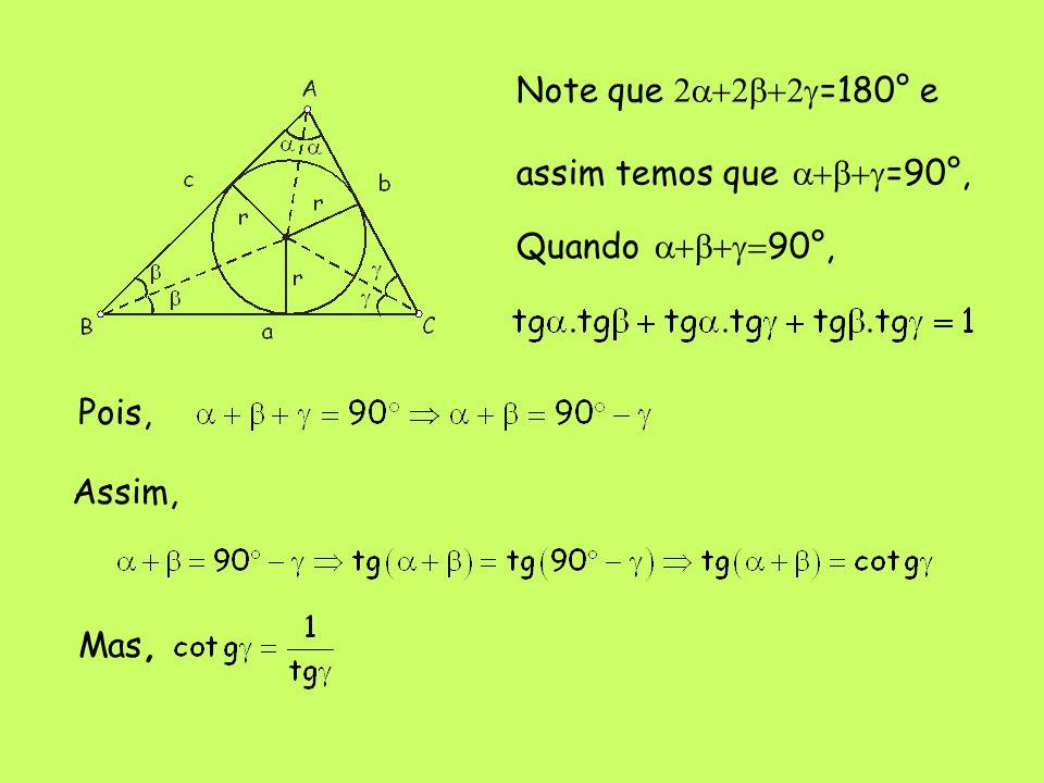 Note que 2a+2b+2g=180° e assim temos que a+b+g=90°, Quando a+b+g=90°, Pois, Assim, Mas,