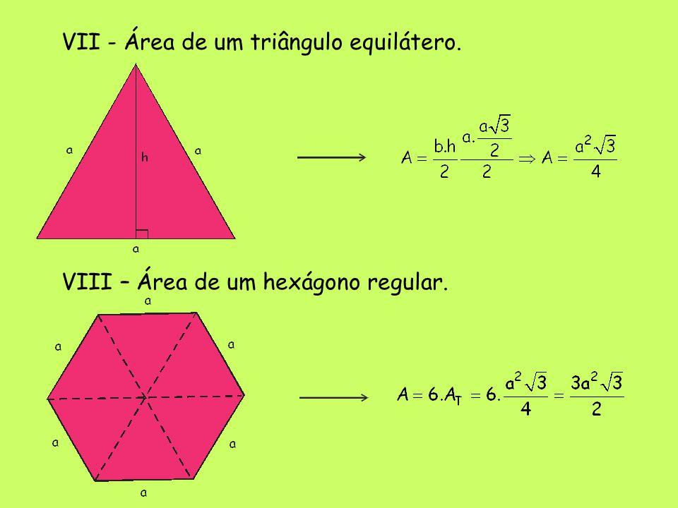 VII - Área de um triângulo equilátero.