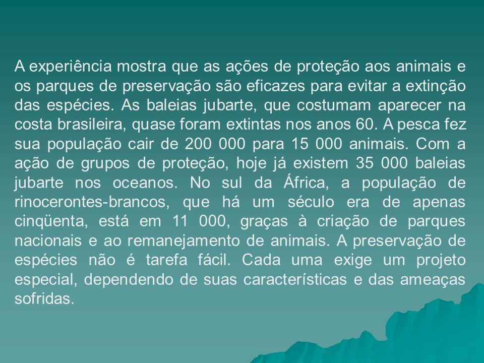 A experiência mostra que as ações de proteção aos animais e os parques de preservação são eficazes para evitar a extinção das espécies.