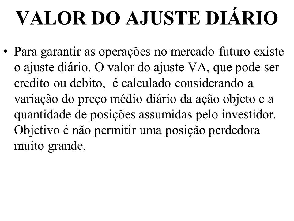 VALOR DO AJUSTE DIÁRIO