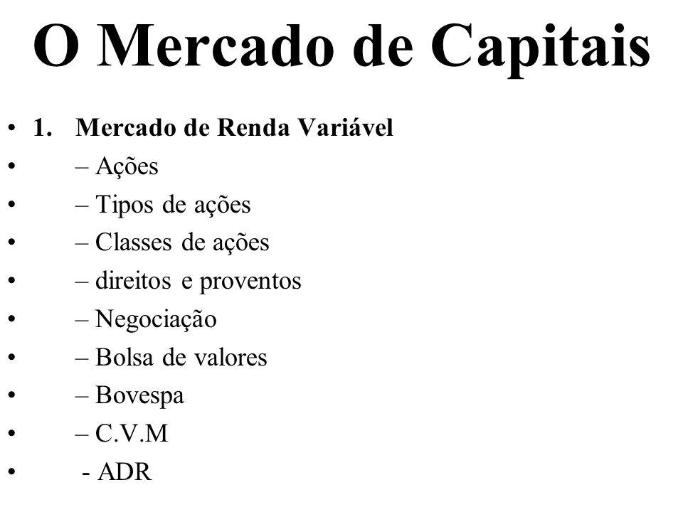 O Mercado de Capitais 1. Mercado de Renda Variável – Ações