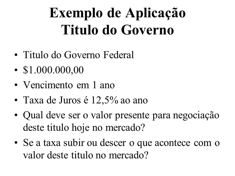 Exemplo de Aplicação Titulo do Governo