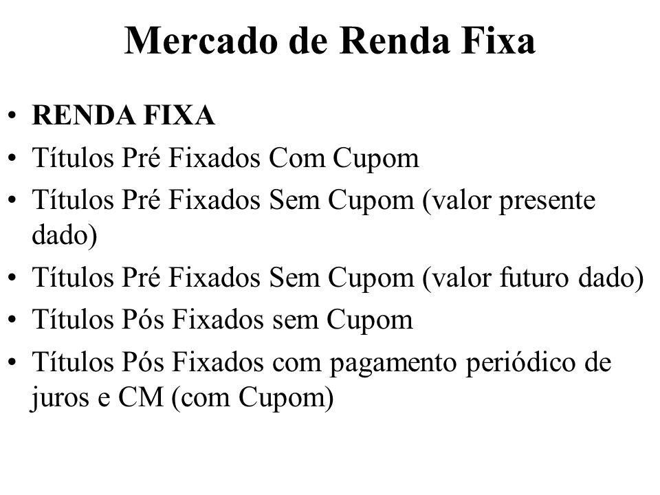 Mercado de Renda Fixa RENDA FIXA Títulos Pré Fixados Com Cupom