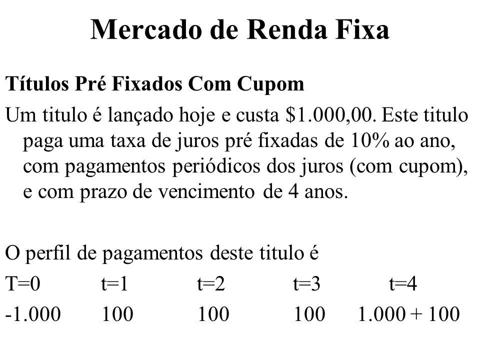 Mercado de Renda Fixa Títulos Pré Fixados Com Cupom