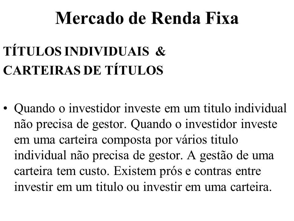Mercado de Renda Fixa TÍTULOS INDIVIDUAIS & CARTEIRAS DE TÍTULOS