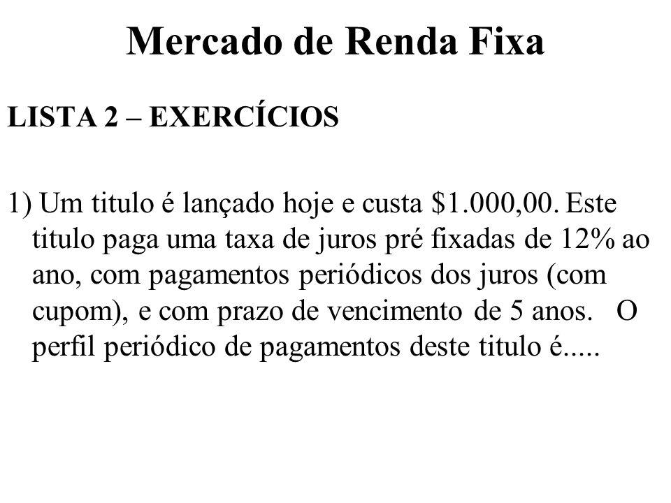 Mercado de Renda Fixa LISTA 2 – EXERCÍCIOS