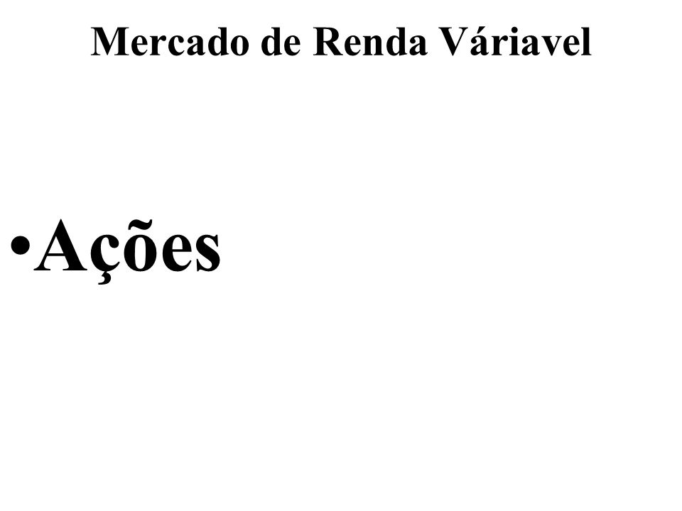 Mercado de Renda Váriavel