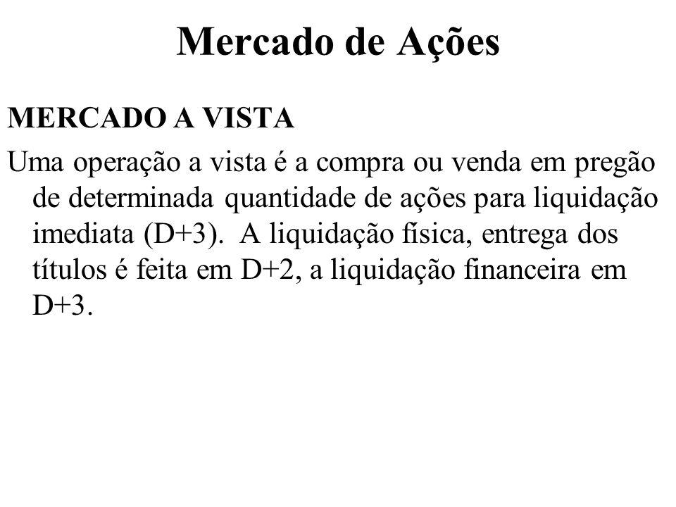 Mercado de Ações MERCADO A VISTA