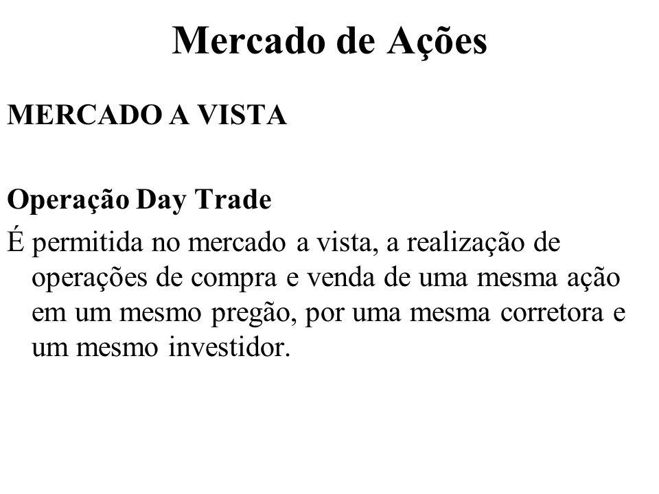 Mercado de Ações MERCADO A VISTA Operação Day Trade