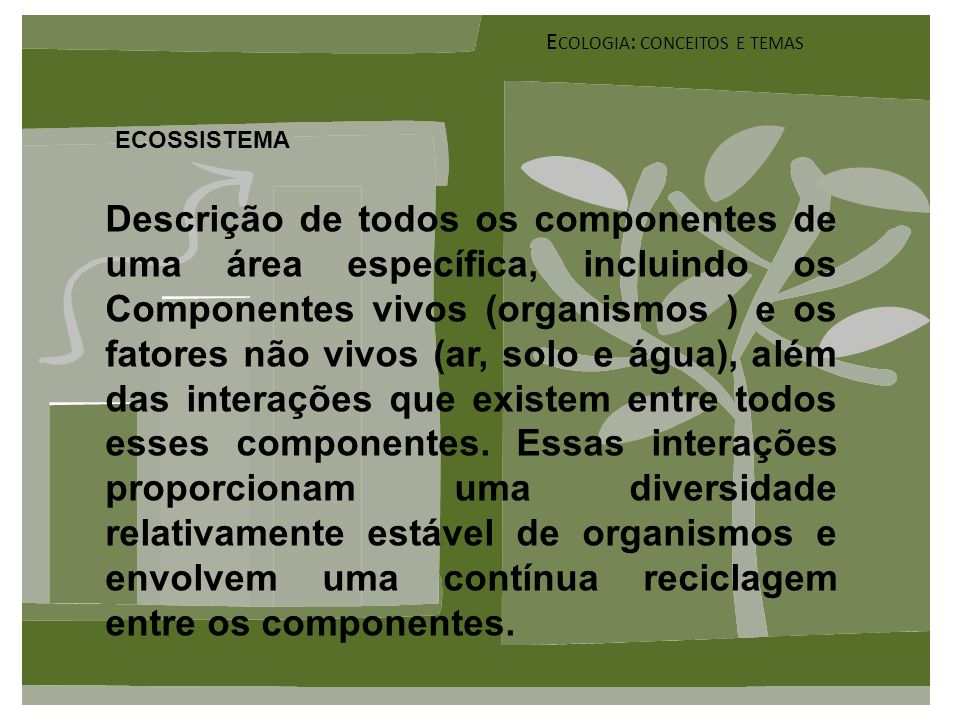 Ecologia: conceitos e temas