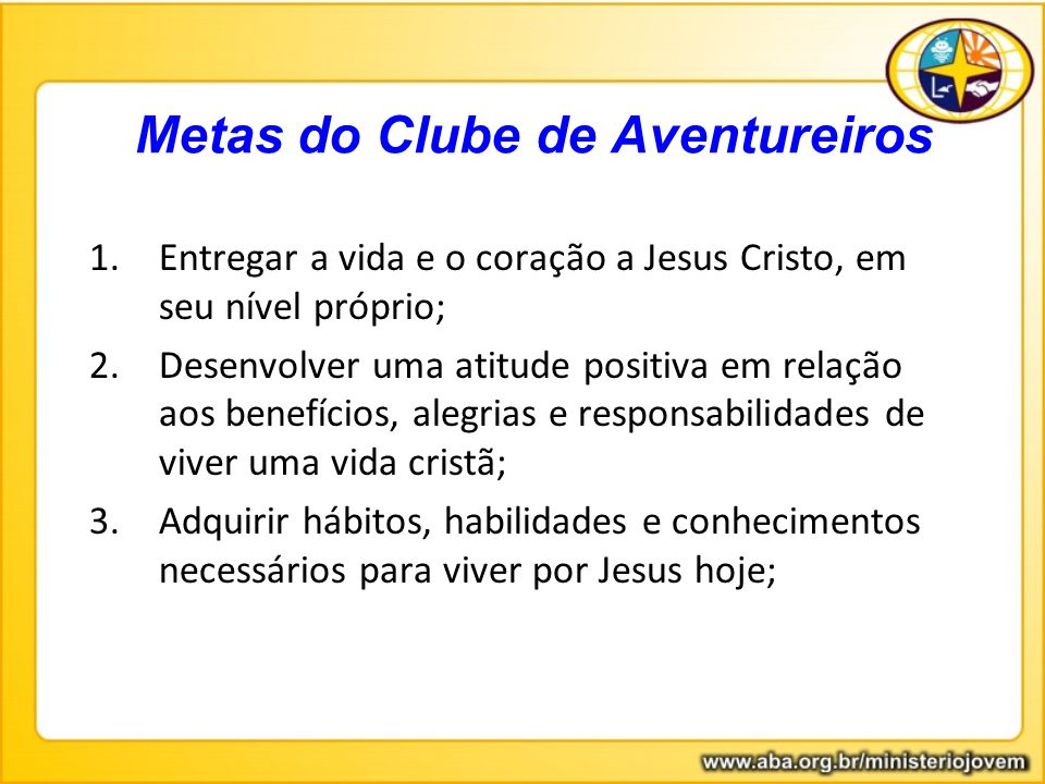 Metas do Clube de Aventureiros