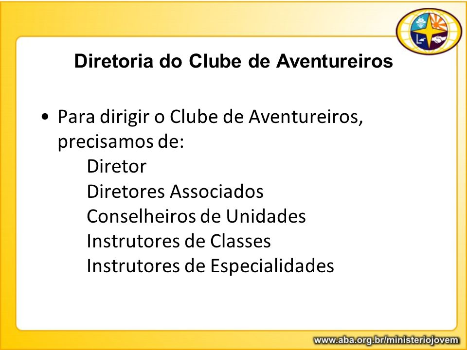 Diretoria do Clube de Aventureiros