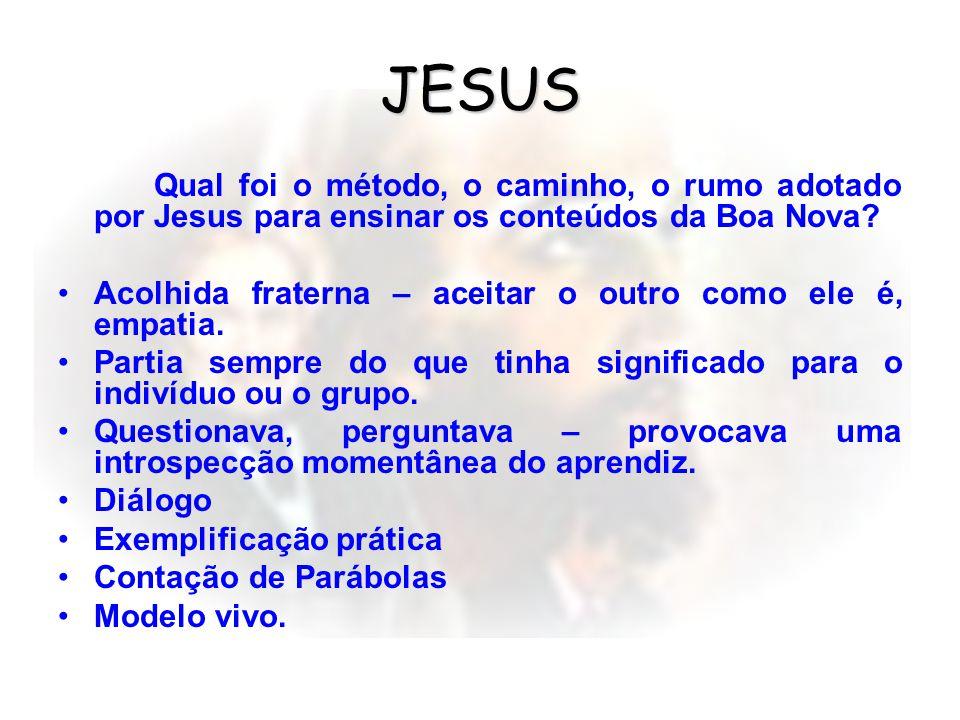 JESUS Qual foi o método, o caminho, o rumo adotado por Jesus para ensinar os conteúdos da Boa Nova