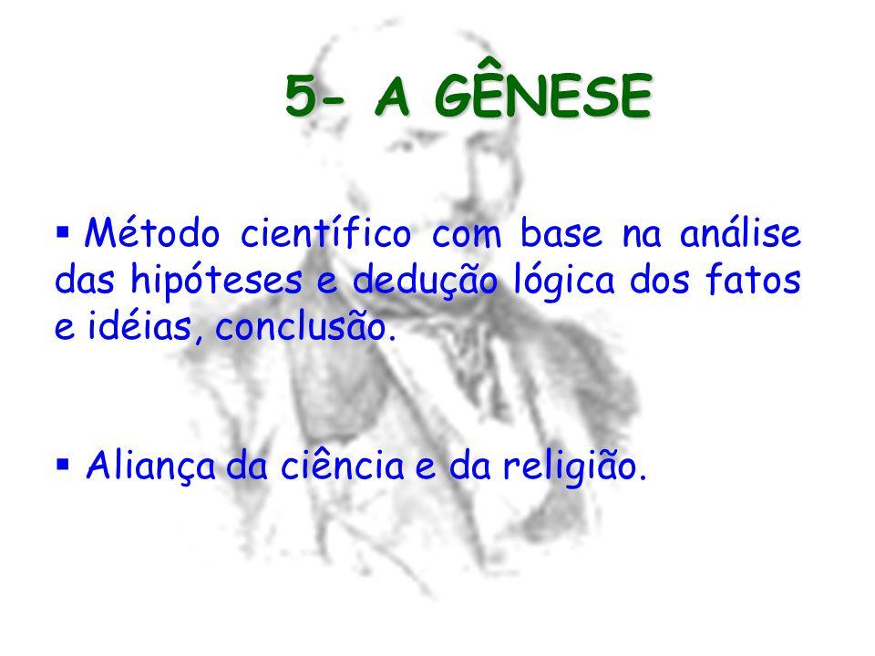 5- A GÊNESE Método científico com base na análise das hipóteses e dedução lógica dos fatos e idéias, conclusão.