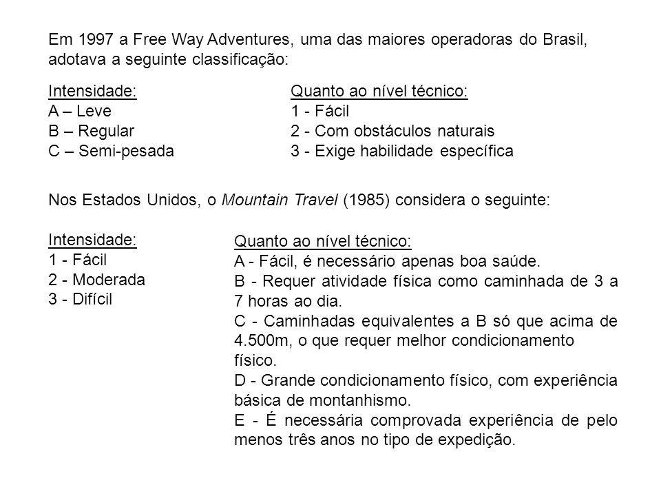 Em 1997 a Free Way Adventures, uma das maiores operadoras do Brasil, adotava a seguinte classificação: