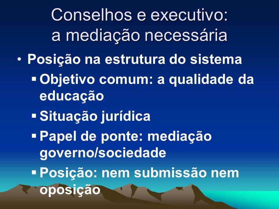 Conselhos e executivo: a mediação necessária