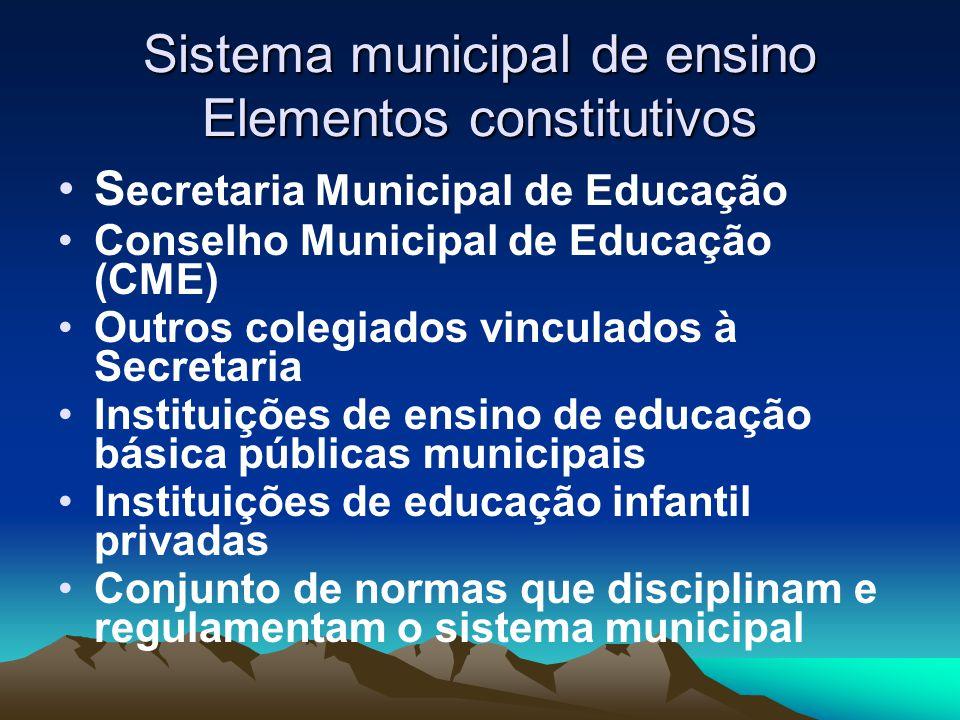 Sistema municipal de ensino Elementos constitutivos