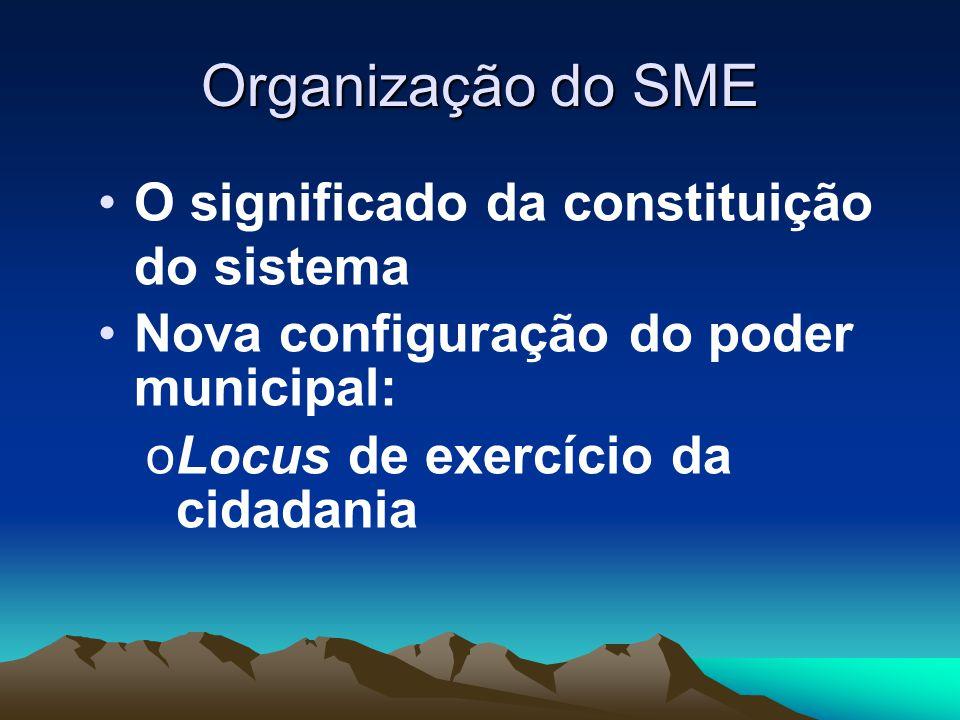 Organização do SME O significado da constituição do sistema