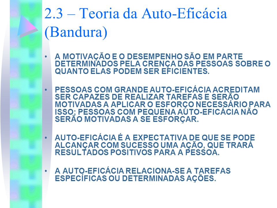 2.3 – Teoria da Auto-Eficácia (Bandura)