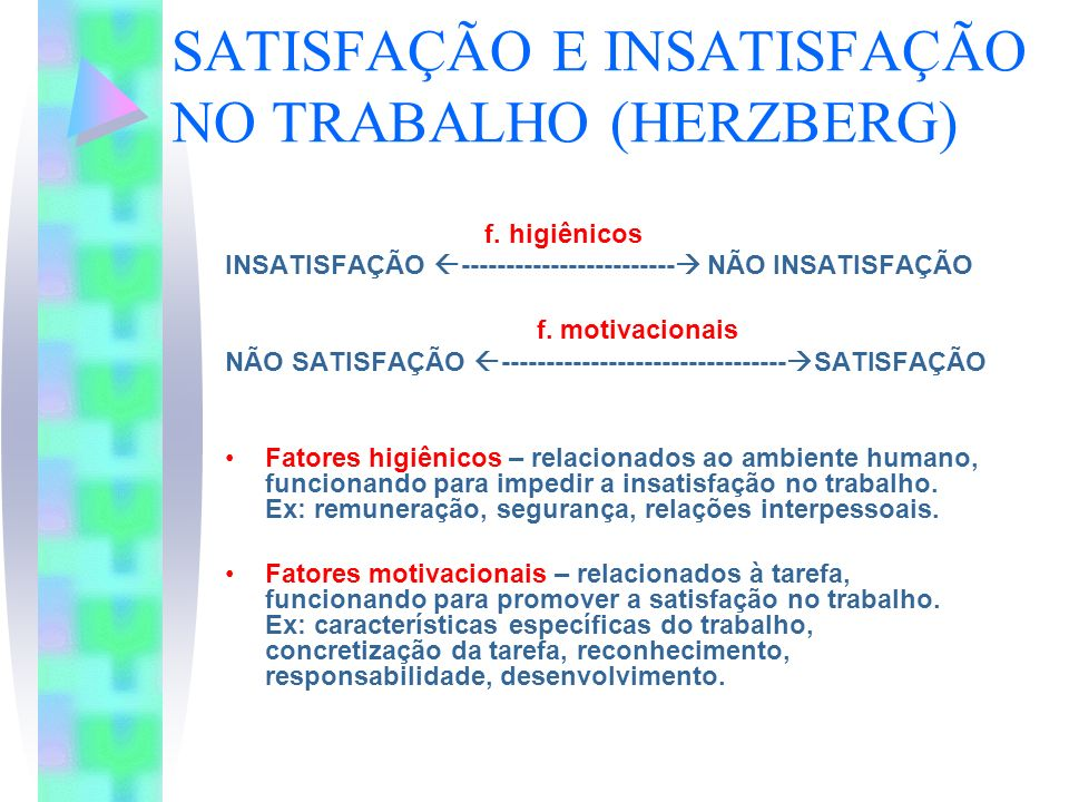 SATISFAÇÃO E INSATISFAÇÃO NO TRABALHO (HERZBERG)
