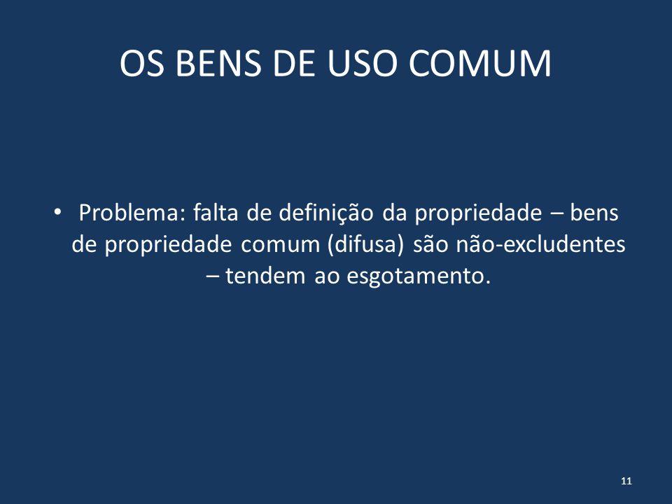 OS BENS DE USO COMUM Problema: falta de definição da propriedade – bens de propriedade comum (difusa) são não-excludentes – tendem ao esgotamento.