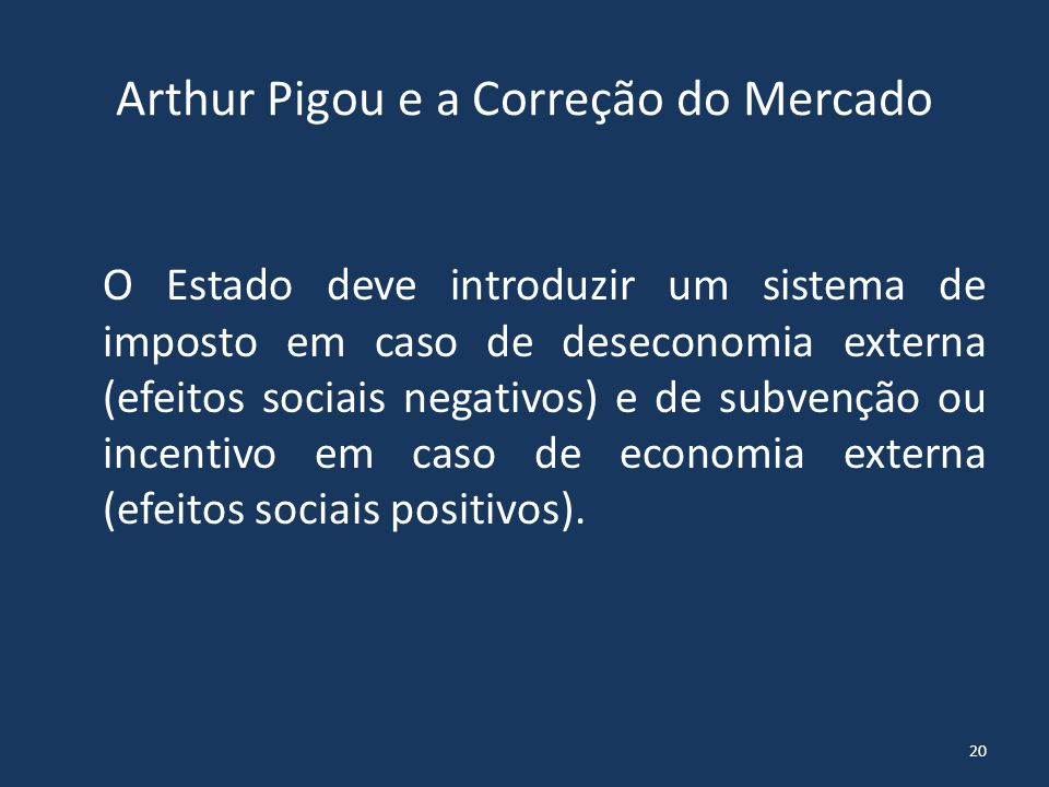 Arthur Pigou e a Correção do Mercado