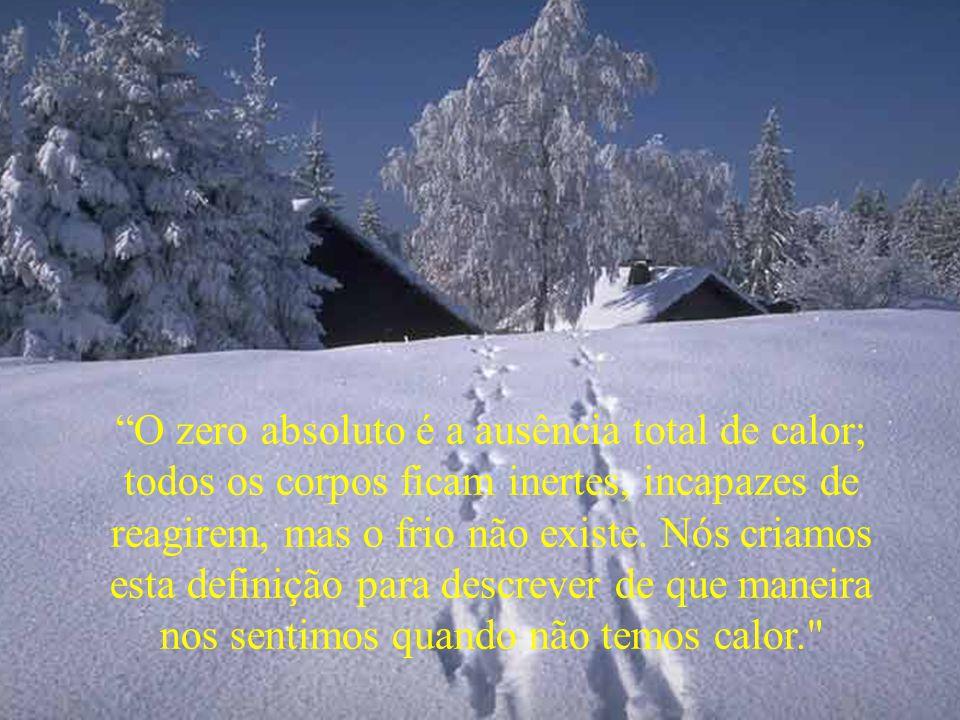 O zero absoluto é a ausência total de calor; todos os corpos ficam inertes, incapazes de reagirem, mas o frio não existe.
