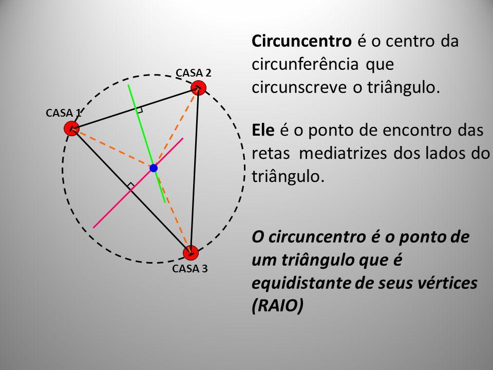 Circuncentro é o centro da circunferência que circunscreve o triângulo.
