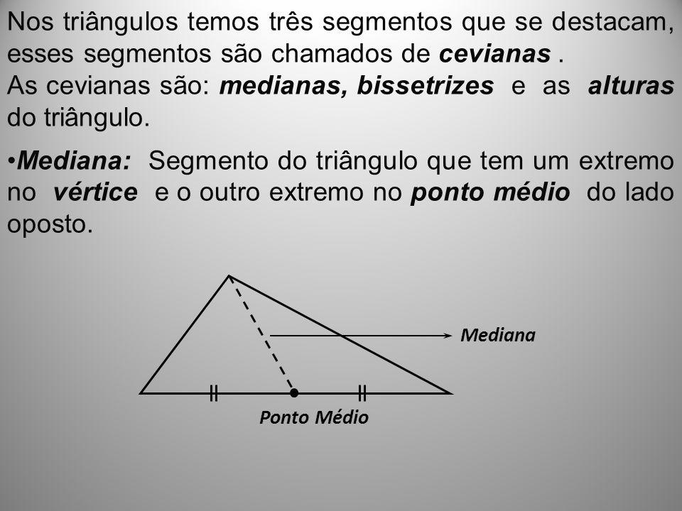 As cevianas são: medianas, bissetrizes e as alturas do triângulo.