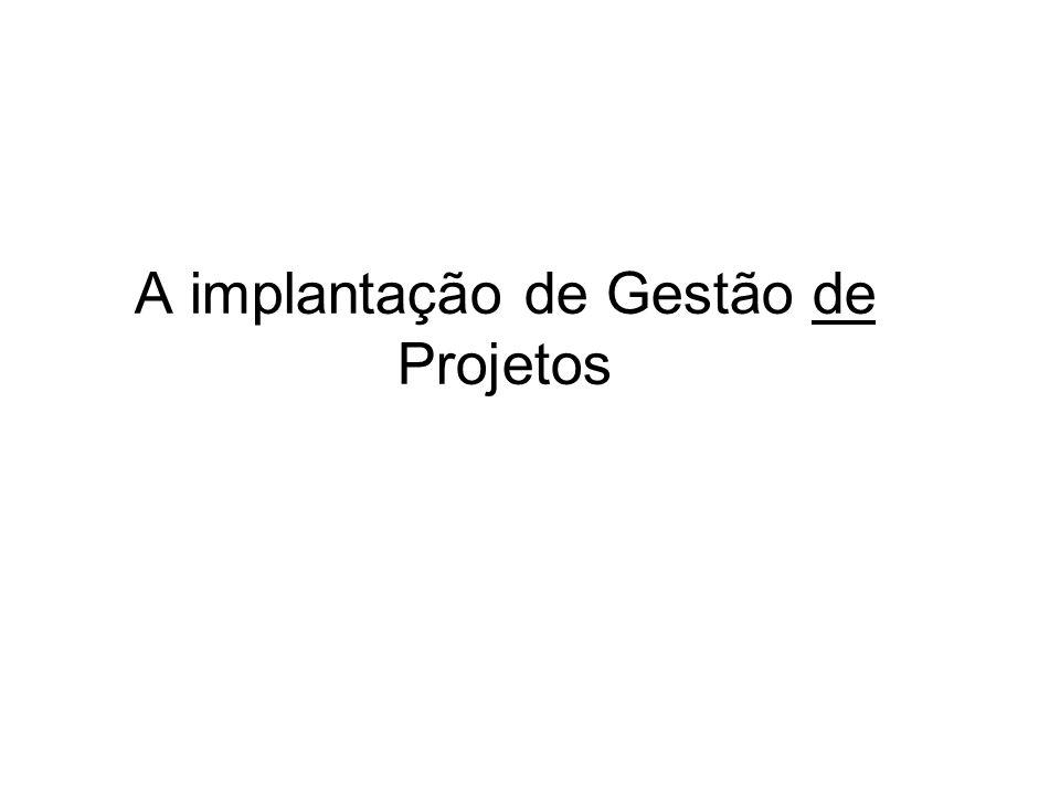 A implantação de Gestão de Projetos