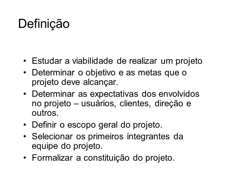 Definição Estudar a viabilidade de realizar um projeto