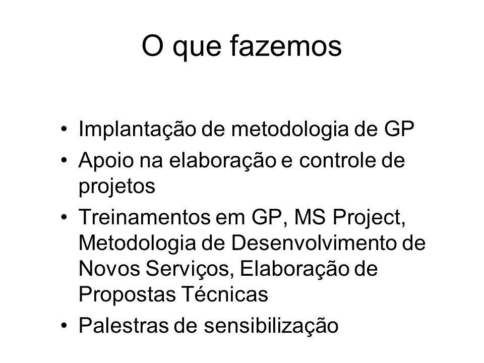 O que fazemos Implantação de metodologia de GP