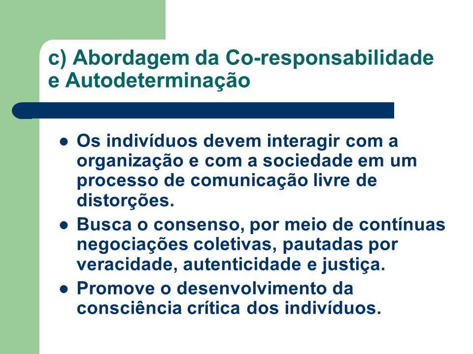 c) Abordagem da Co-responsabilidade e Autodeterminação