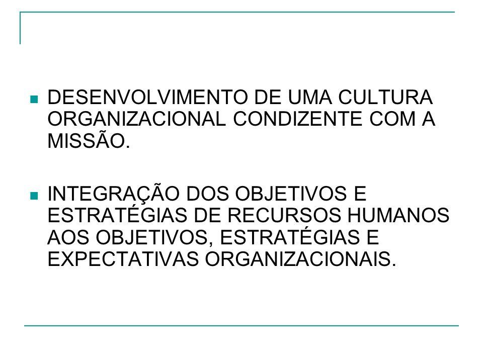 DESENVOLVIMENTO DE UMA CULTURA ORGANIZACIONAL CONDIZENTE COM A MISSÃO.