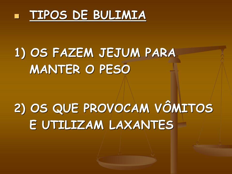 TIPOS DE BULIMIA 1) OS FAZEM JEJUM PARA MANTER O PESO.