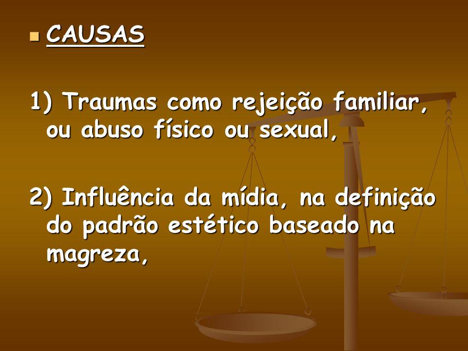 CAUSAS 1) Traumas como rejeição familiar, ou abuso físico ou sexual, 2) Influência da mídia, na definição do padrão estético baseado na magreza,