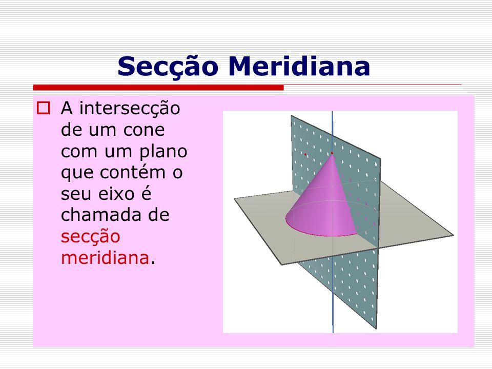 Secção Meridiana A intersecção de um cone com um plano que contém o seu eixo é chamada de secção meridiana.