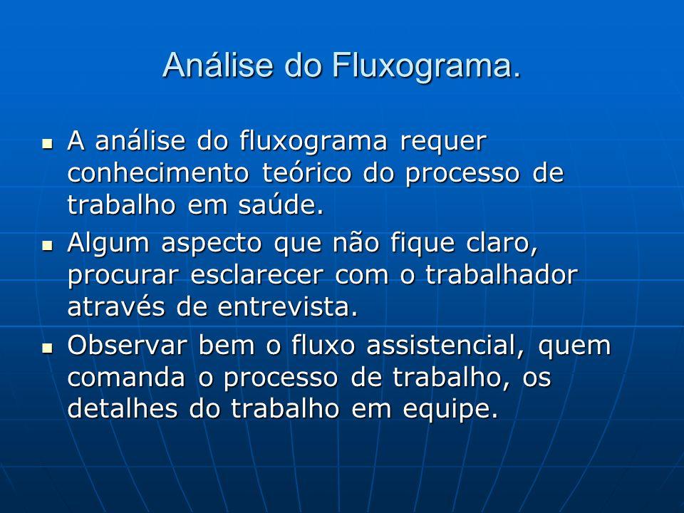 Análise do Fluxograma. A análise do fluxograma requer conhecimento teórico do processo de trabalho em saúde.