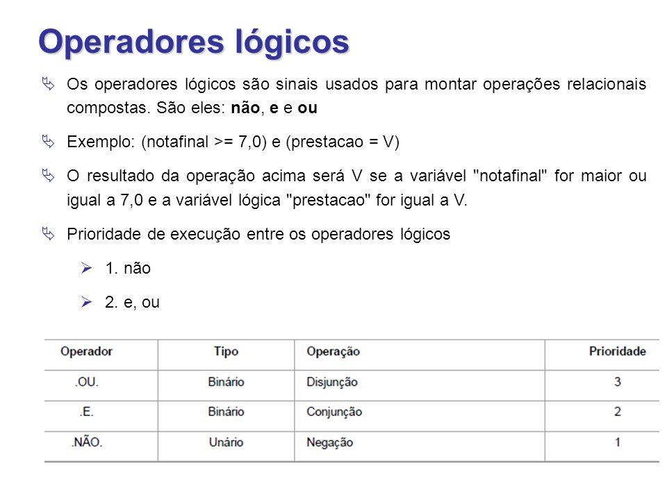 Operadores lógicos Os operadores lógicos são sinais usados para montar operações relacionais compostas. São eles: não, e e ou.