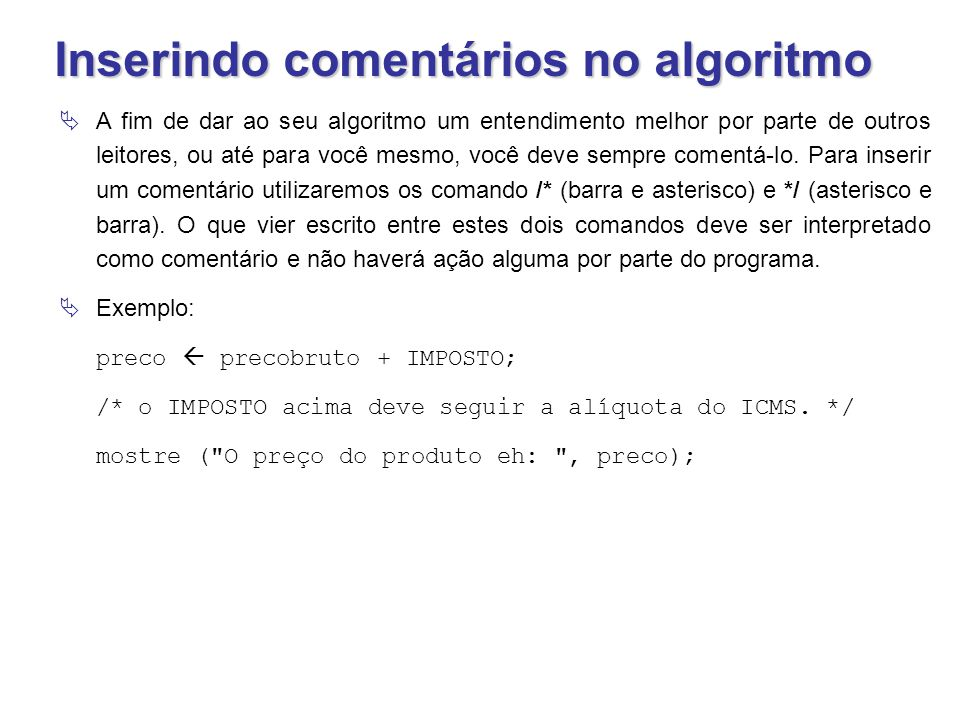 Inserindo comentários no algoritmo