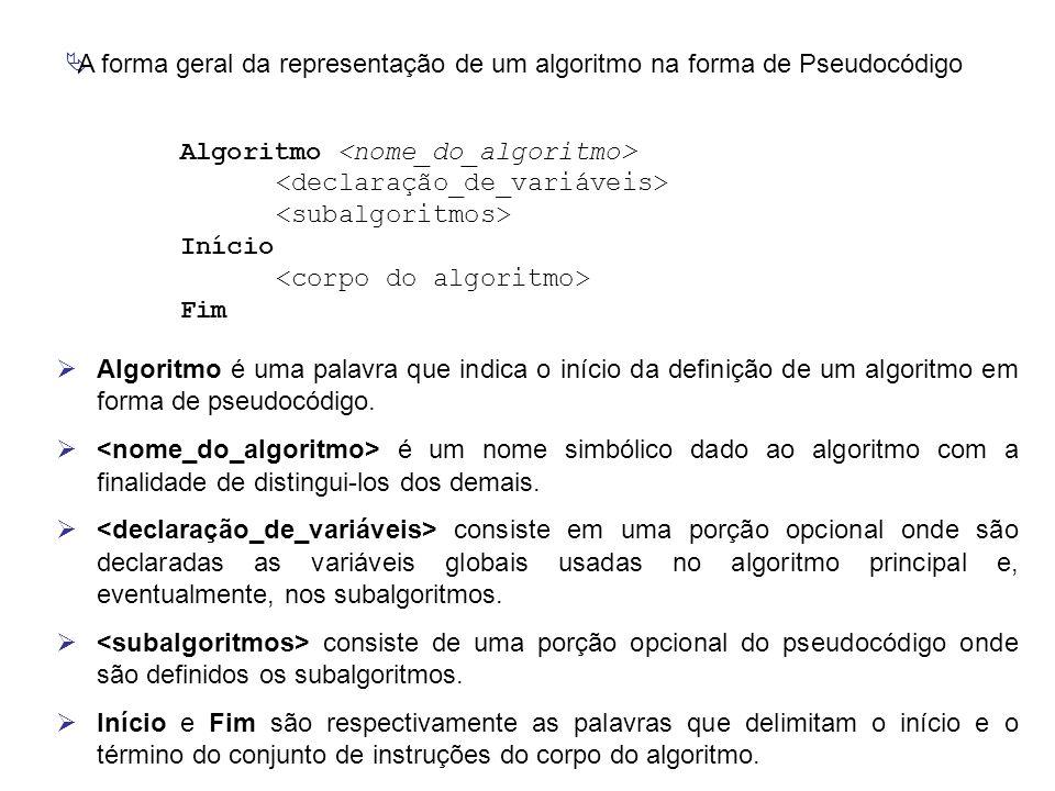 A forma geral da representação de um algoritmo na forma de Pseudocódigo